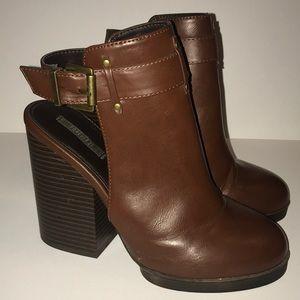 Brown Platform Heel Booties